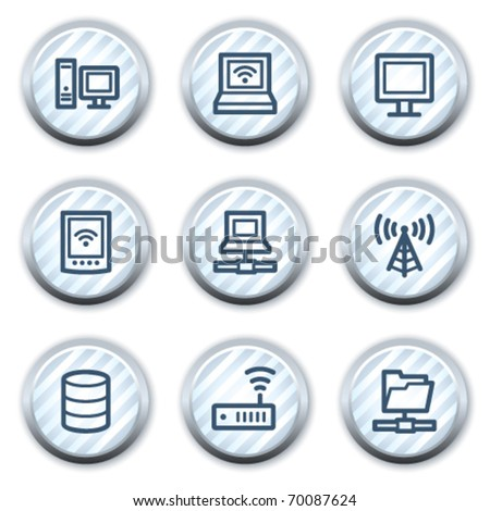 Network web icons, stripped light blue circle buttons - stock vector