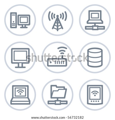 Network web icons, white circle series - stock vector