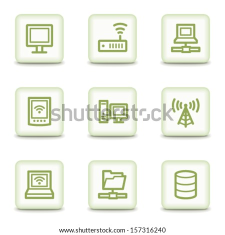 Network web icons, white glossy buttons - stock vector