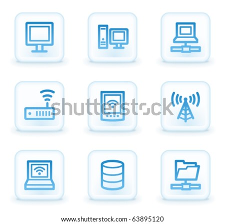 Network web icons , white square buttons - stock vector