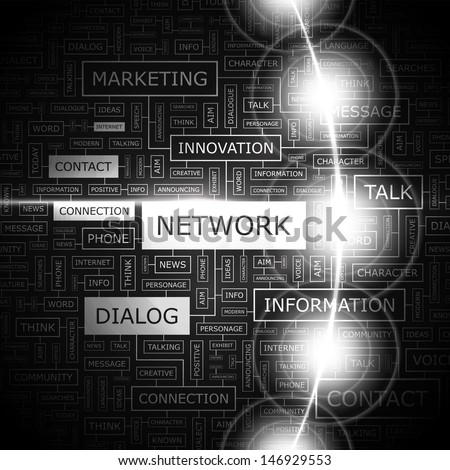 NETWORK. Word cloud illustration. Graphic tag collection. Vector concept collage.