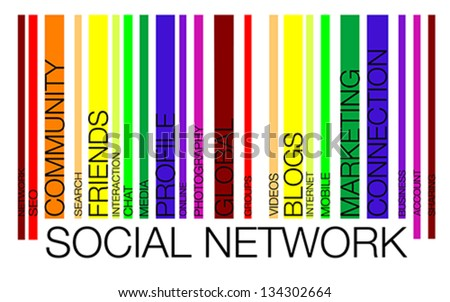 NETWORK word concept in barcode with supporting words, modern, concept, vector - stock vector