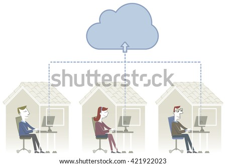 Networked Home Three People Work Home Stock Vector 421922023 ...