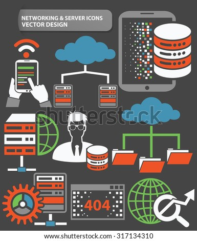 Networking and database server icon set,clean vector - stock vector