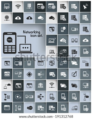 Networking & Communication icon set,vector - stock vector