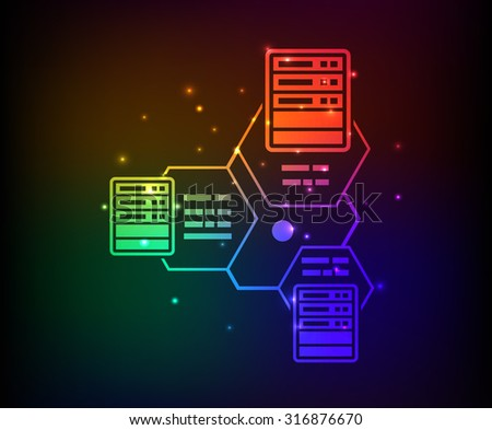 Networking,database design,abstract rainbow concept,clean vector