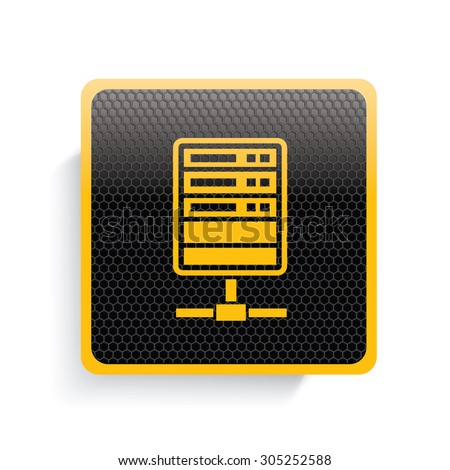 Networking,database icon design,yellow version,clean vector - stock vector