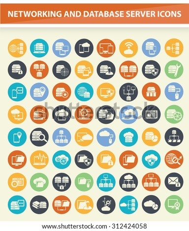 Networking, Database server and cloud computing icons,clean vector - stock vector