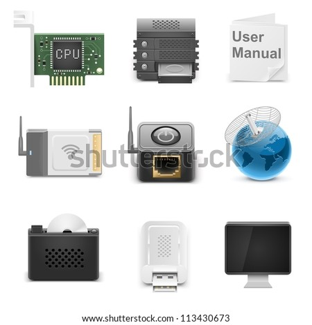 networking hardware vector icons