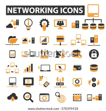 networking icons - stock vector