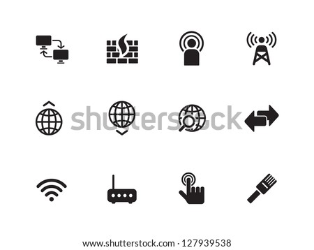 Networking icons on white background. Vector illustration. - stock vector