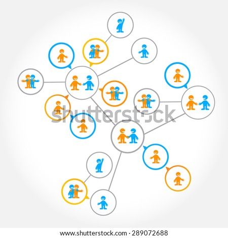 Networking - the social connections between people: business, friendship, communication of interests. - stock vector