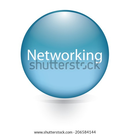 Networking word blue button - stock vector