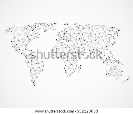 Networking world map texture, low poly earth map. Vector global communication concept. Illustration map of world digital net