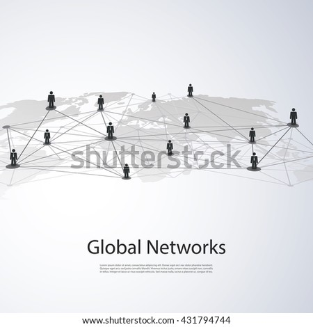 Networks - Global Business Connections - Social Media Concept Design - stock vector