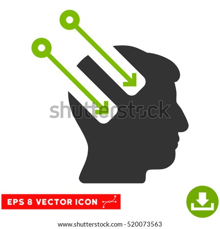 Neural Interface EPS vector icon. Illustration style is flat iconic bicolor eco green and gray symbol on white background.