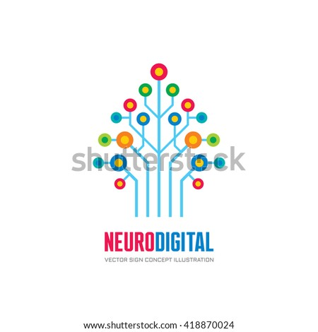 Neuro digital - vector logo concept illustration. Network tree sign. Computer technology.  - stock vector