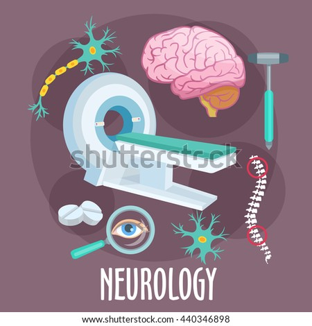 Neurological research of disorders of nervous system flat icon of MRI machine with human brain, dendrite and neuron structure models, spine, eye, pills and medical hammer. Healthcare theme design - stock vector