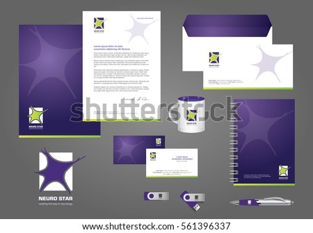 Neurology Star Logo, corporate identity template design, stationery green, violet