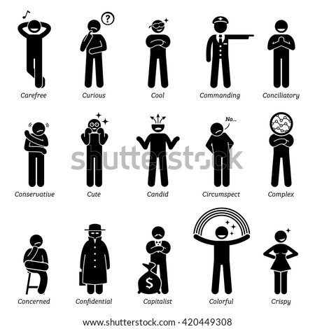 Neutral Personalities Character Traits. Stick Figures Man Icons. Starting with the Alphabet C. - stock vector