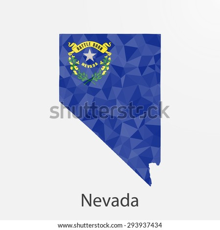 Nevada flag map in geometric,mosaic polygonal style.Abstract tessellation,background. Low poly vector illustration EPS10