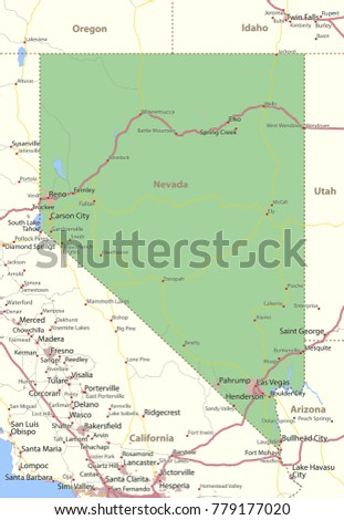 Nevada Map Shows State Borders Urban Stock Vector 779177020