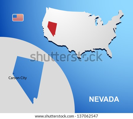 Nevada on USA map with map of the state