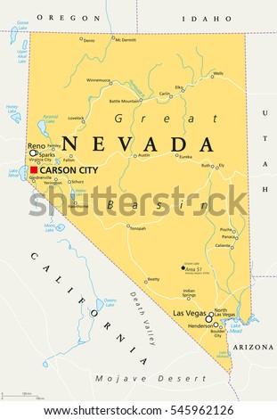 Nevada Political Map Capital Carson City Stock Vector - Las vegas nevada usa map