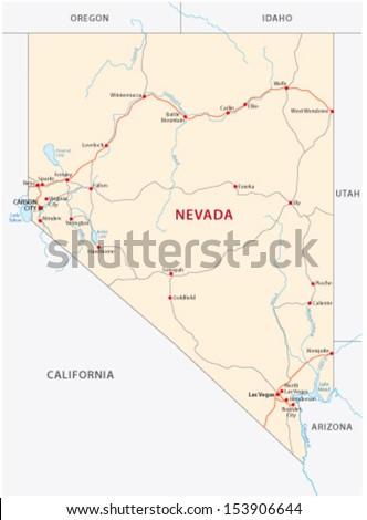 nevada road map - stock vector