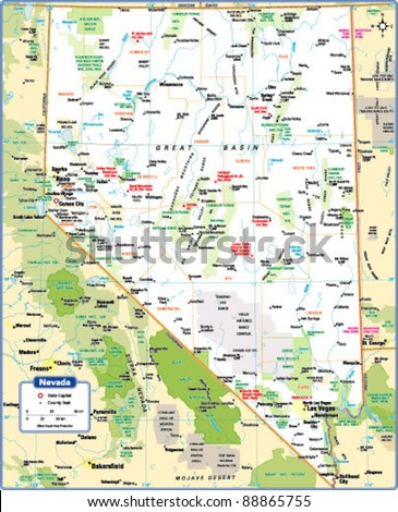 Nevada State Map Stock Vector Shutterstock - Nevada state map
