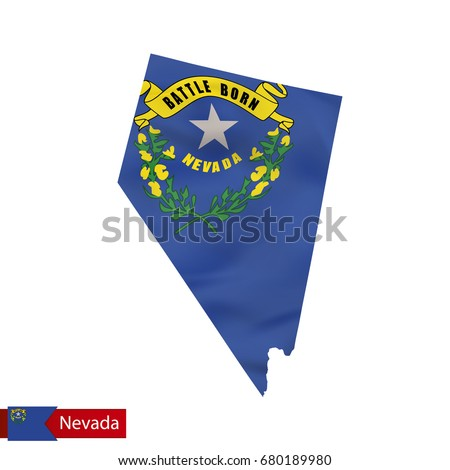 Nevada State Map With Waving Flag Of Us State Vector Ilration