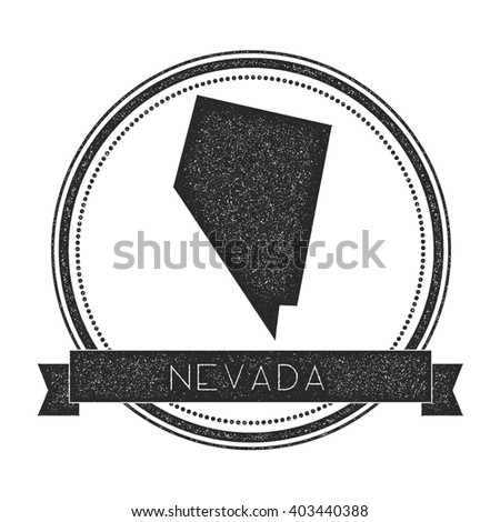Nevada Vector Map Stamp Retro Distressed Insignia With Us State Map Hipster Round Rubber