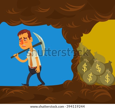 Never give up. Vector flat cartoon illustration - stock vector