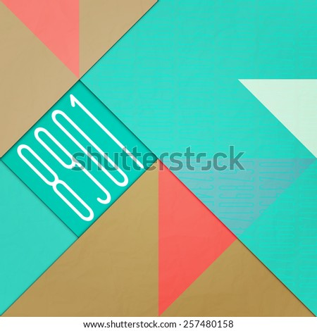 new abstract background with numbers over paper texture. vector wallpaper design - stock vector