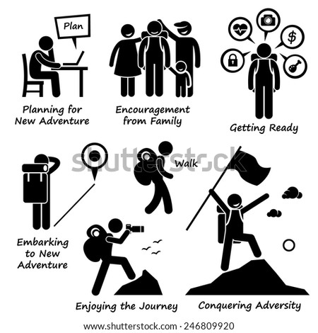 New Adventure and Conquering Adversity Stick Figure Pictogram Icons - stock vector
