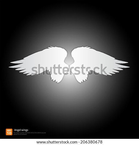 New angel wings silhouette vector design - stock vector