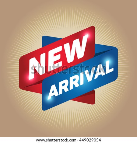 NEW ARRIVAL arrow tag sign icon. Special offer label. Gold background. - stock vector