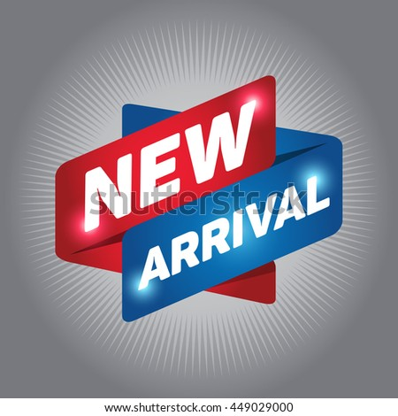 NEW ARRIVAL arrow tag sign icon. Special offer label. Gray background. - stock vector