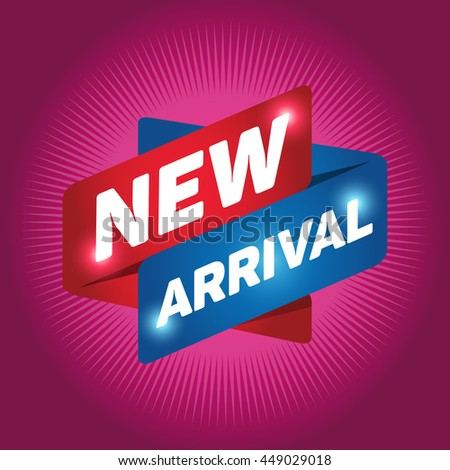 NEW ARRIVAL arrow tag sign icon. Special offer label. Magenta background. - stock vector