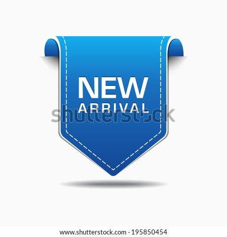New Arrival Blue Label Icon Vector Design - stock vector
