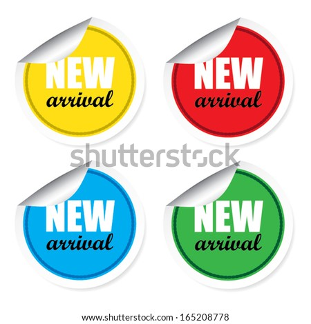 New arrival colorful labels, stickers, signs and tags vector. - stock vector