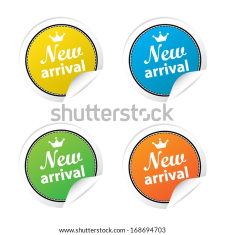 New arrival labels. Vector