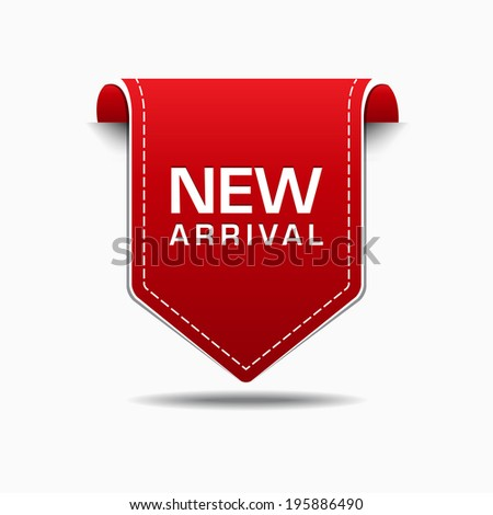 New Arrival Red Label Icon Vector Design - stock vector