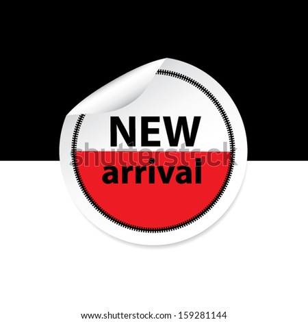New arrival red sticker, label and sign set on black and white background. Vector - stock vector