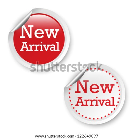 New arrival stickers, vector illustration