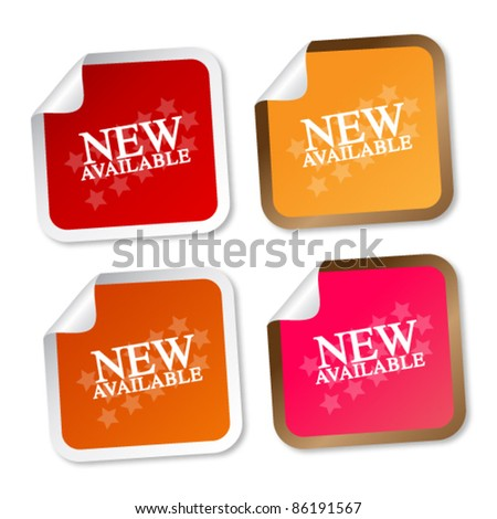 New available stickers - stock vector