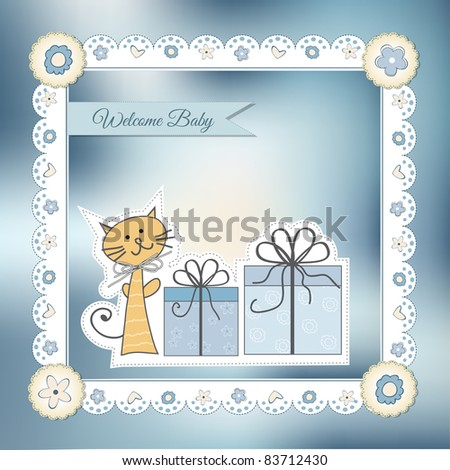 new baby announcement card - stock vector
