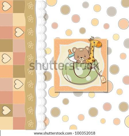 new baby announcement card with bag and same toys - stock vector