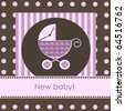 New baby arrival card, vector - stock photo