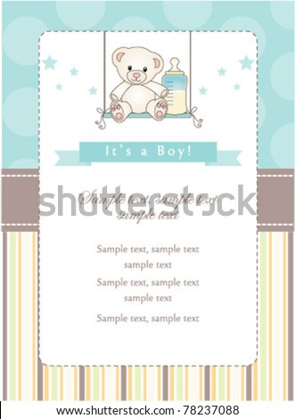 New baby boy shower invitation - stock vector